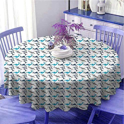 Mantel redondo de tiburón para acampar estilo retro diferentes siluetas abstractas símbolos de peligrosa alta mar diseño sin costuras diámetro 67 pulgadas azul marino azul gris