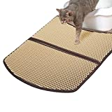 FlyBanboo WooPet! Cat Litter Mat Large Beige 24 x 22, Prevent Litter Scatter from Litter Tray, Anti Tracking Litter and Catch Litters