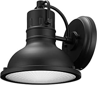 Globe Electric 44157 Harbor 1-Light Outdoor Indoor Wall Sconce, Matte Black, Clear Plastic Diffuser