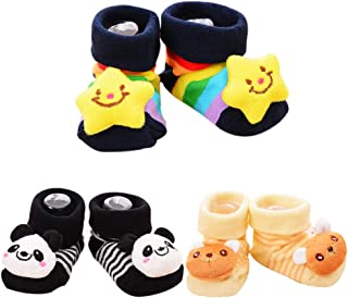 QZBAOSHU, Paquete de 3 Pares Bebé Calcetines Antideslizante Soles Acogedor Dibujos Animados Recién Nacido Bebé Calcetines