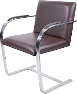 MLF Brno Flat Chair. Fire Retardant & Highly Resilient Cushions. 1 Single Piece Heat Tempered Premium Grade Stainless Steel and Bent C Solid Flat Bar Frame (Dark Brown Aniline Leather)