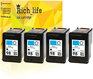 Rich_life Remanufactured Ink Cartridge Replacement for HP98 HP 98 Black C9364WN Inkjet Cartridges Compatible HP Printer Designjet Officejet Photosmart Deskjet PSC 4 Pack (Black)