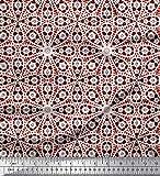 Soimoi Rot Satin Seide Stoff Blumen- Block gedruckt Craft