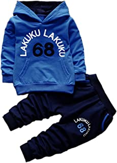 Toddler Infant Baby Boys Long Sleeve Hoodie Tops Sweatsuit Pants Outfit Set