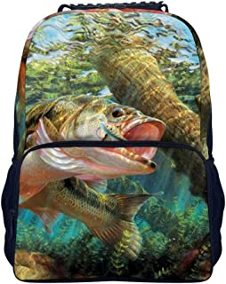 Bass Fish School Backpack, Student Bookbag for Boys Girls Kids Teenagers, fit School, Travel, Outdoors