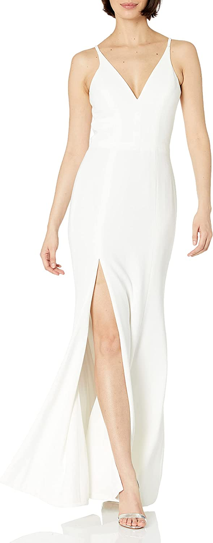 Dress the Population Women's Iris Spaghetti Strap Plunging Long Dress, Off White, Large