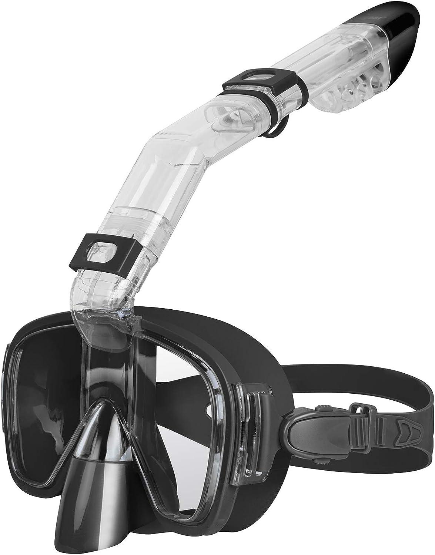 Unigear Máscara de Snorkel, Gafas de Snorkel con Tapa Seca y Plegable Antivaho con Soporte para Cámara para Buceo Libre y Natación, Equipo de Snorkel Profesional para Hombres, Mujeres y Niños