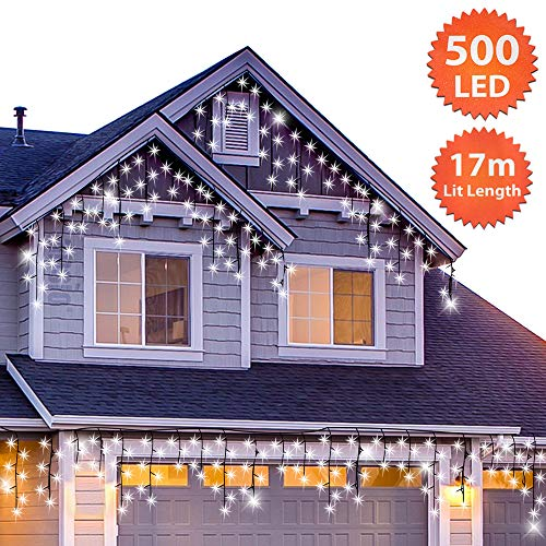 ANSIO Christmas Icicle Lights Outdoor 500 LED 17m/56ft...