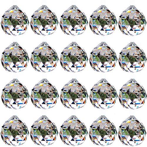 Riveryy 20Piezas 30mm Prisma de Bola de Cristal Transparente Cuelgan Facetadas Suncatcher Colgante para Lámpara de Techo,Feng Shui, Casa de la Boda,Decoraciones de Oficina