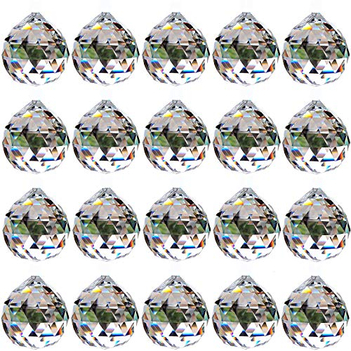 Riveryy 20 Piezas 30mm Prisma de Bola de Cristal Transparente Cuelgan Facetadas Suncatcher Colgante para Lámpara de Techo,Feng Shui, Casa de la Boda,Decoraciones de Oficina