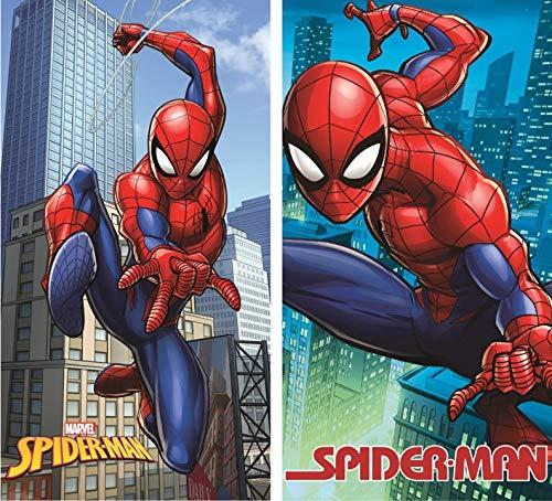 Kinder Handtuch Gästetuch Gesichtstuch - wählbar: Spiderman Batman Transformers Star Wars Avengers Superman – Baumwolle - Geschenk für Jungen (Spiderman 2er P)