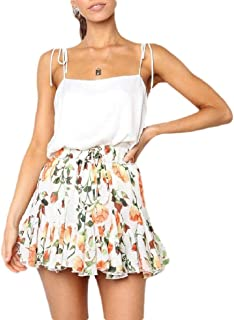 Cobamx Womens Imprimir Highwaist Mini Falbala Falda Floral Fresco una línea