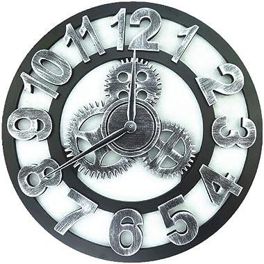 3D Grand Classique Vintage En Bois Silencieux Silencieux Horloge Murale Rétro Engrenage Horloge Murale Chiffres Arabes Hololo