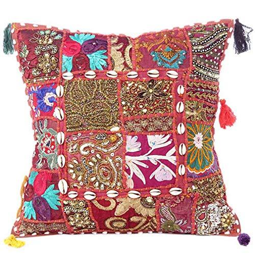 Eyes of India - Colorato Decorativo Divano Copriletto Patchwork Cuscino Divano Cuscino Cover Custodia Bohémien Accento Indiano Boho Chic Fatto a Mano Cover - Bordeaux, 20 X 20 in. (50 X 50 cm)