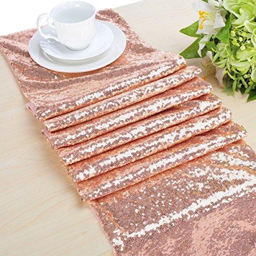 "B-COOL 12""x50"" Shiny Rose Gold Sequin Glamorous Table runner for Wedding/Gathering/Brithday Table runner"