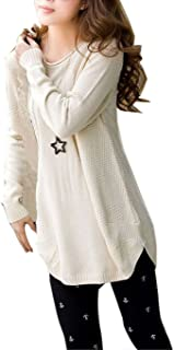 MECUMI_JP Women Sweater Round Neck Long Sleeve Knitted Pullover Loose Jumper White, FreeSize