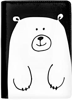 RFID Blocking Genuine Leather Passport Case Cover Holder Travel Wallet White Bear