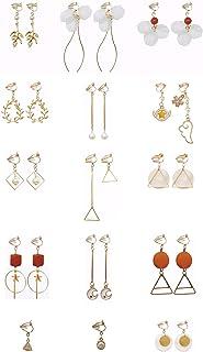 Gold Clip On Dangle Earrings for Teens Girls Women Pearl Non Piercing Earrings Jewelry Set 15 Pack