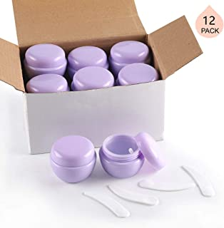LONGWAY 1 Oz (30ML) Mini Plastic Jars with Lids and Inner Liners | Empty Lotion Containers/Travel Cream Containers - for Sugar Scrub, Cosmetic Jars & BPA Free (Pack of 12, Purple)