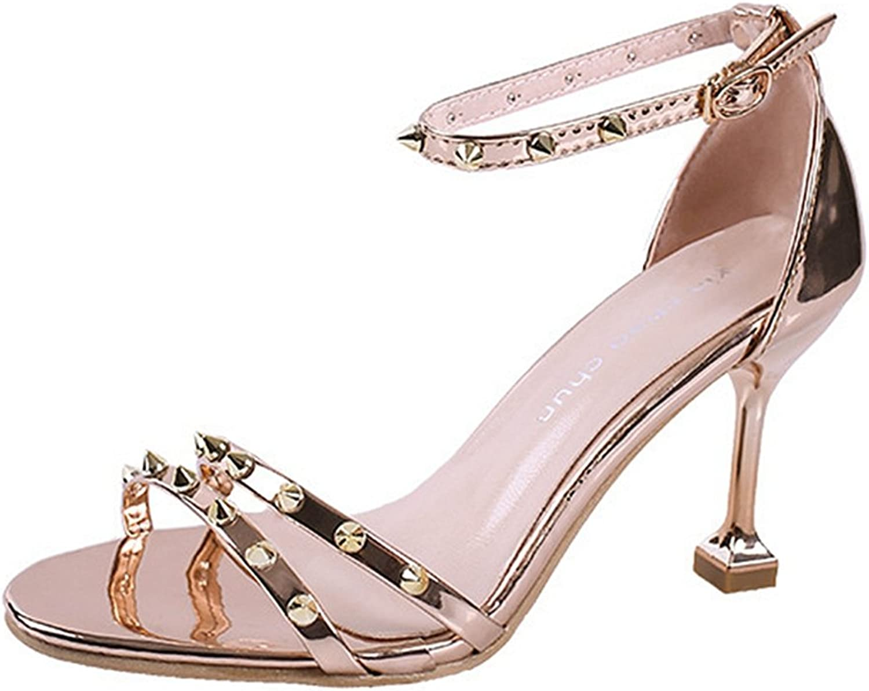 GIY Women's Rivets Stiletto Dress Sandals Open Toe Ankle Strap Pump High Heel Sandal