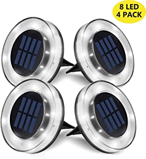 Solar LED Ground Lights Outdoor, 8 LED Garden Lights Waterproof Patio Light with Light Sensor for Lawn,Pathway,Yard,Step and Walkway by WZTO (Cool White, 4 Pack)