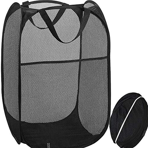 Qtopun Upgraded Mesh Popup Laundry Hamper with Side Pocket Large Size Foldable Laundry Basket Portable Dirty Clothes Basket Collapsible Hamper for Home and Travel-Black