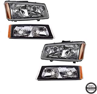 Headlights Assembly for 2003-2007 Chevy Silverado 1500 2500 3500 1500HD 2500HD 2003-2006 Chevy Avalanche with Black Housing Amber Reflector Clear Lens Headlamps Replacement for Driver & Passenger Side