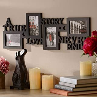 KNL Store A True Love Story Never Ends 4 Picture Collage Photo Frame, 4x6-Inch, Black