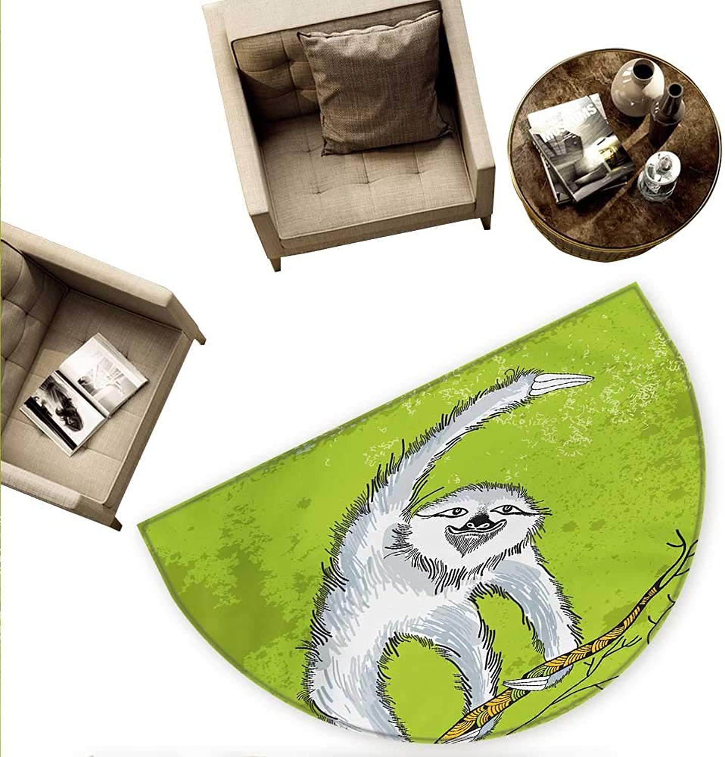 Sloth Semicircular Cushion Smiling Sloth Clutches Hanging on a Branch Habitat Wildlife Entry Door Mat H 78.7  xD 118.1  Pale Grey Green White