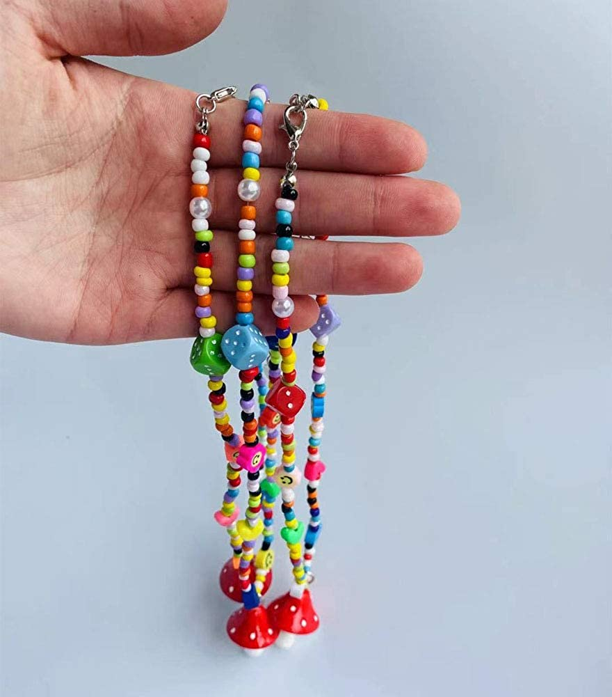 Y2K Necklace Colorful Beaded Necklace Smiley Face Mushroom Beaded Necklace Indie Jewelry for Girls Women