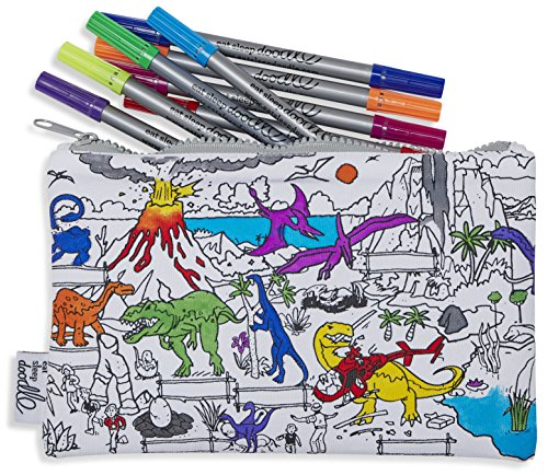 eatsleepdoodle Dinosaur Pencil Case to Color in, Fun Educational Dinosaur Adventure Scene to Personalize, Washable Felt Tip Fabric Markers Included
