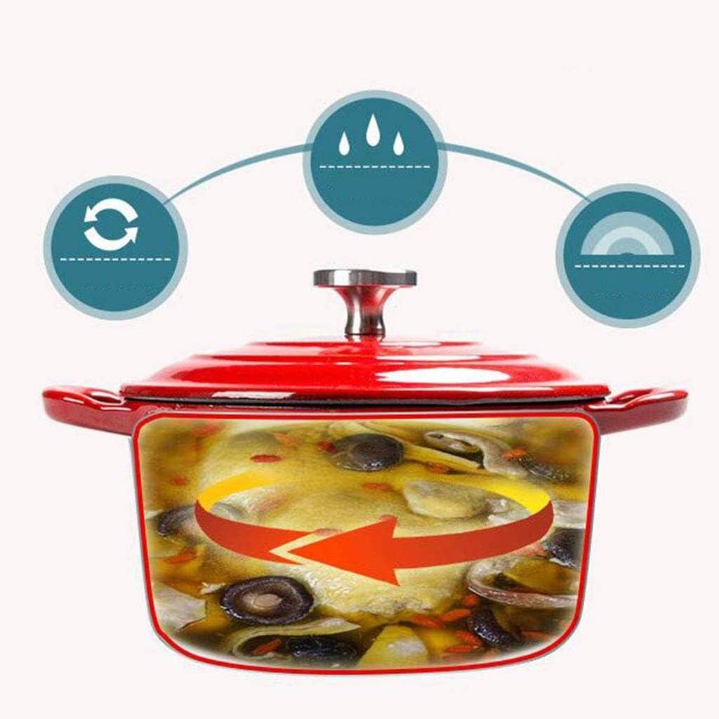 SHYOD Émaillé Fer Batteries de Cuisine émaillées de Fonte de Fonte de Fer Soupe Fer Ovale Plat de Cuisson (Color : D) C