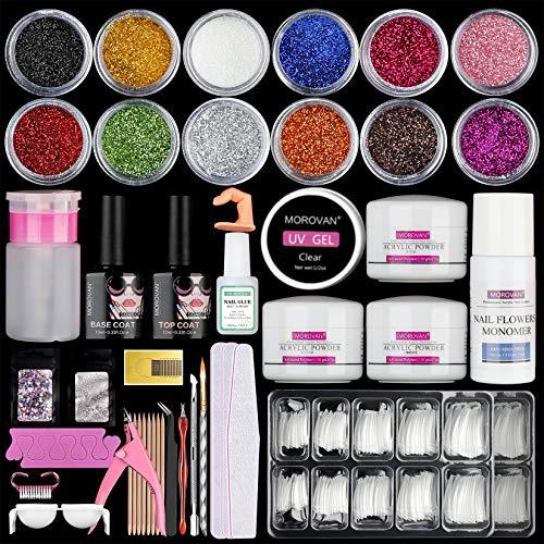 12 Glitter Acrylic Nail Kit Acrylic Powder Kit Nail Tips Acrylic Nail Brush Nail Decorations Nails Kit Professional Acrylic Nails Set