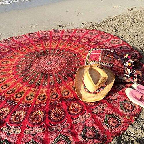 Bhagyoday Fashions- Tapisseries mandala indiennes paon- Serviettes de plage mandala- Tapis de plage ronds- Tapis ronds de Yoga pour méditation- Grande serviette- Serviette de plage ronde de 177,8 cm