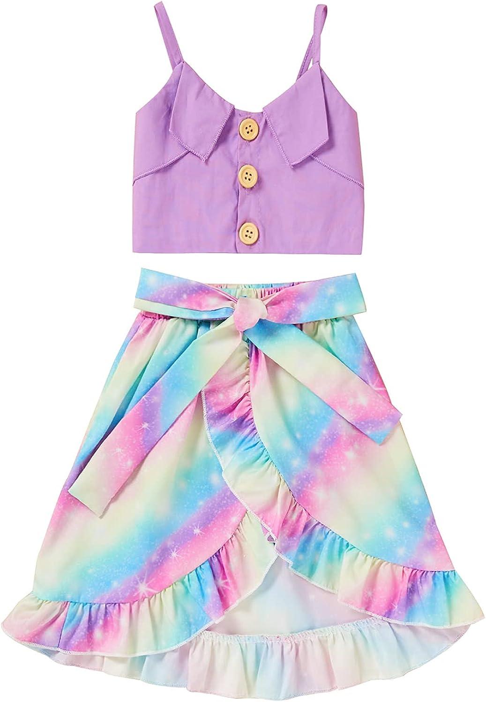 Sinhoon Toddler Baby Girl Clothes Button Sling Sleeveless Top+ Ruffle Skirt 2Pcs Summer Outfits