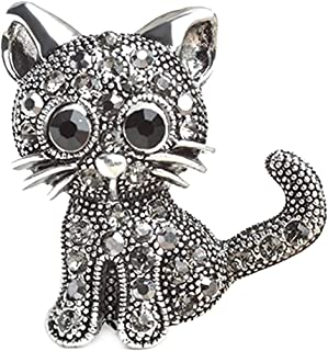 Xeminor Premium Crystal Cat Brooches Pins Christmas Wedding Gift for Women