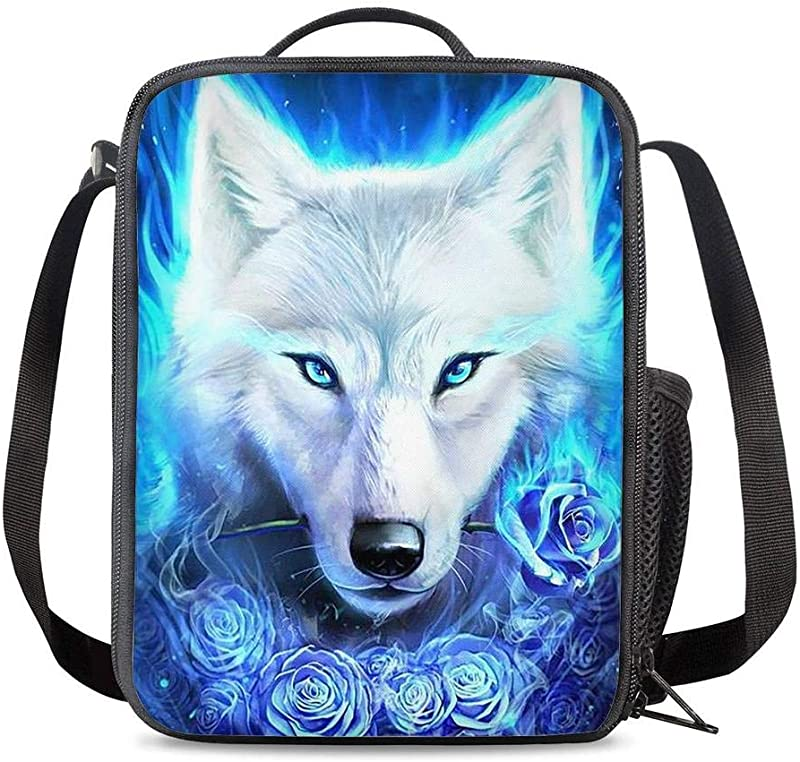 KiuLoam Cool 3D White Wolf Flowers Kids Small Lunch Box Children S Insulated Lunch Bag With Zipper Shoulder Strap Cooler Lunch Tote For Boys Girl Preschool Office Picnic