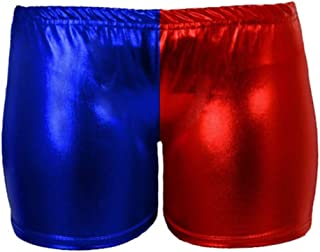 Comfiestyle New Women's RED Blue Wet Look HOT Pants Metallic Harley Quinn Costume Suicide Squad. UK 8-14