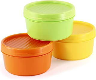 Lote de 3 Contenedores Portafruta en Plástico PP Libre de BPA de 0.5L. Ideal Para Fruta o Papilla. Colores Surtidos