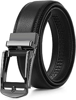 Megan ベルト メンズ 紳士 ビジネス カジュアル 革 ブラック オートロック式バックル サイズ調節可能 上質レザー 穴なし 無段階調節 高級感 おしゃれ 祝いギフト