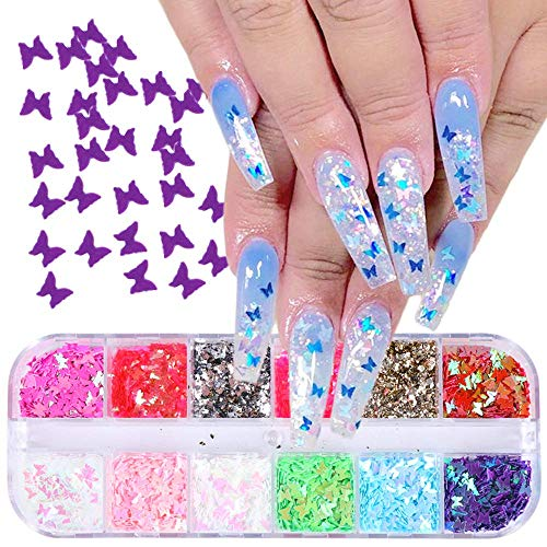 Butterfly Nail Glitter Sequins - 12 Colors Holographic Nail Art Decoration 3D Nail Art Flakes Sparkle Glitter Butterflies Sticker Decals Manicure Nail Art Design Makeup DIY Decals Decor