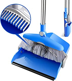 Broom and Dustpan Set with 70CM Long Handle Sweep Set and Lobby Broom Upright Grips Dustpan Set with Broom for Home Kitche...