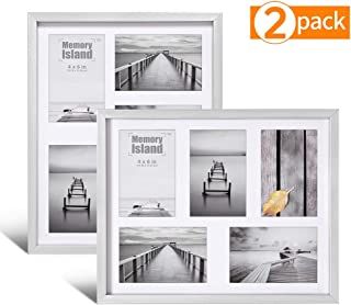 Memory Island 11x14 Collage Picture Frames Set-Display 5 4x6 Pictures with Mat-2 Pack in Silver