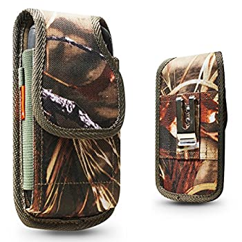 Vertical Belt Clip Case For Samsung Galaxy S9 PLUS/S10 Plus/Note 10 Plus Heavy Duty Rugged Contractor Canvas Two Loops Metal Clip Fits Phone+Otterbox Defender/Commuter/Lifeproof Cover On -Camo Tree