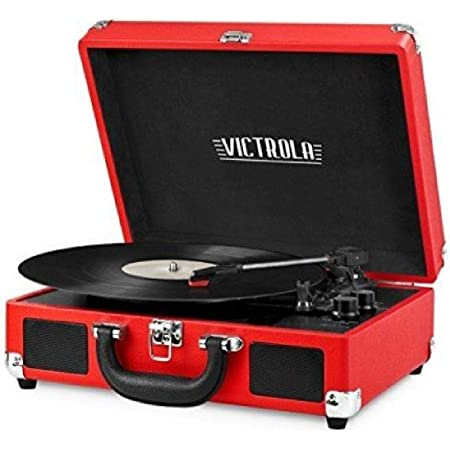 Victrola Vintage 3-Speed Bluetooth Portable Suitcase Record Player with Built-in Speakers   Upgraded Turntable Audio Sound  Includes Extra Stylus   Red, 1SFA (VSC-550BT-RD)