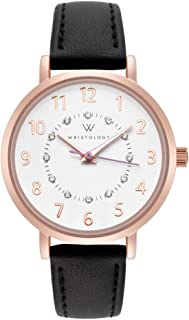 Charlotte - 3 Options - Numbers Womens Watch Rose Gold Petite Ladies Black Leather Strap Band