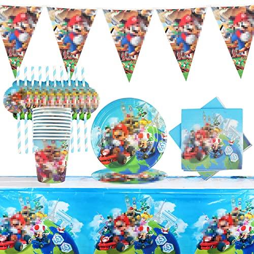 Yisscen Vaisselle de Fête D'anniversaire,52pcs Party Set,Enfants Decoration Anniversaire Fournitures de fête Assiettes,gobelets,Serviettes,Nappe,Bannière
