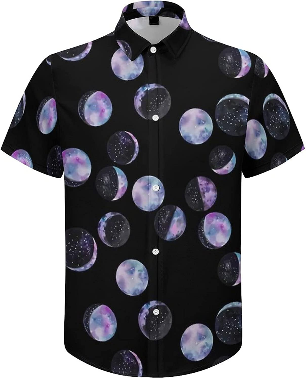 Men's Short Sleeve Button Down Shirt Moon Phase Summer Shirts