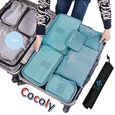 Cocoly 7pcs travel Organizers Packing Cubes Luggage Organizers Compression Pouches blue