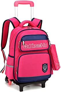 GLJJQMY Travel Backpack Large Capacity Men and Women Computer Bag Backpack Student Trolley Bag Trolley Backpack (Color : Rose, Size : 42x14x31cm)